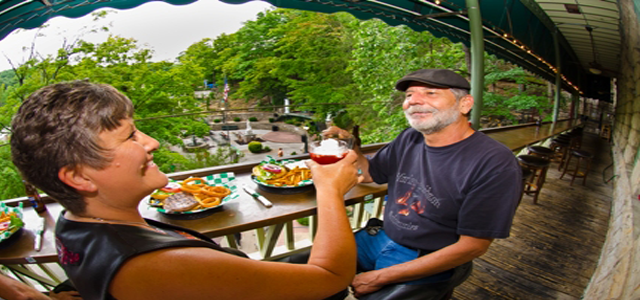 eureka springs downtown motorcycle bar balcony restaurant basin park hotel