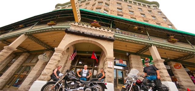 eureka springs motorcycle rides historic basin park hotel downtown